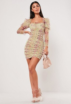 Missguided Nude Mesh Ruched Bodycon Mini Dress