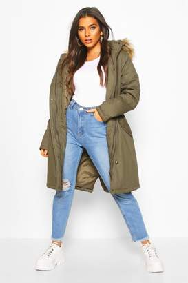 boohoo Faux Fur Trim Synch Waist Parka Coat