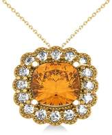 Allurez Citrine and Diamond Floral Cushion Halo Pendant Necklace 14k Yellow Gold (2.43ct)