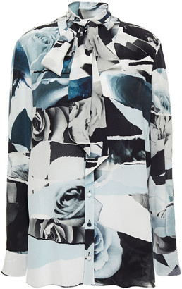 Alexander McQueen Pussy-bow Printed Silk Crepe De Chine Blouse