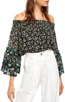 Free People Rose Valley Off-the-Shoulder Bell Sleeve Blouse