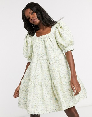 Sister Jane mini smock dress with puff sleeves in pastel tweed