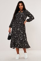 Missguided Plus Size Black Dalmatian Print Tiered Maxi Smock Dress