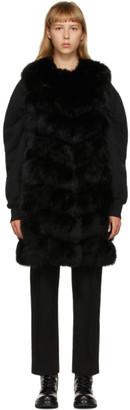 Yves Salomon Black Fur Long Vest