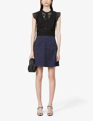 Reiss Hazel contrast-skirt crepe midi dress