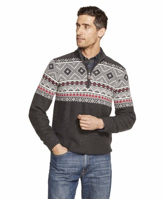 Izod Men's 1/4 Zip Seed Stitch Fair Isle Sweater