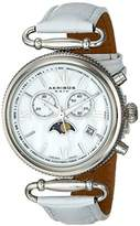 Akribos XXIV Women's Swiss Quartz Watch with Mother of Pearl Dial Analogue Display and Black Leather Strap AK754BKR