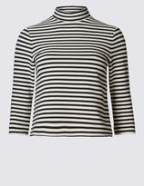 Marks and Spencer PETITE Striped High Neck Jersey Top