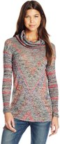 Derek Heart Junior's Long Sleeve Printed Cowl High Low Top