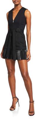 Alexis Kelsie Sleeveless Zip-Front Leather Combo Dress