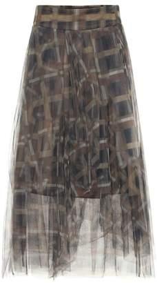 Brunello Cucinelli Printed tulle midi skirt