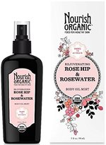 Nourish Organic Rejuvenating Body Oil Mist, Rose Hip & Rosewater, 3 Ounce