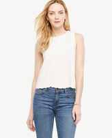 Ann Taylor Petite Scalloped Crepe Shell