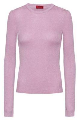 HUGO BOSS Slim Fit Rib Knit Sweater With Thumbholes - Light Purple
