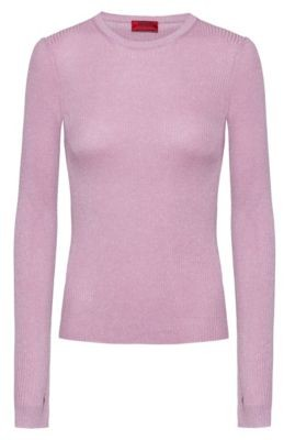HUGO BOSS Slim Fit Rib Knit Sweater With Thumbholes - Patterned