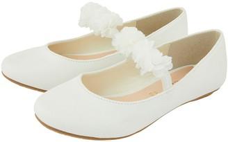 Monsoon Girls Cynthia Corsage Shimmer Ballerina Shoes - Ivory