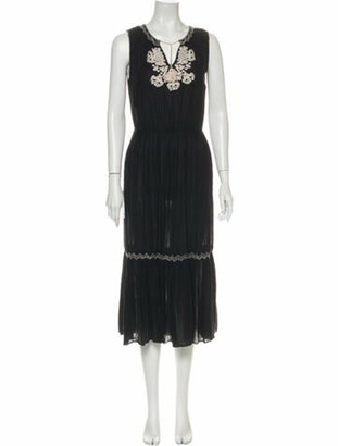 Ulla Johnson V-Neck Long Dress Black