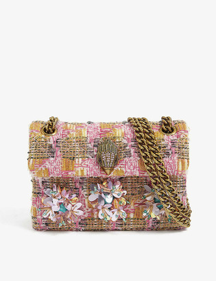 Kurt Geiger Kensington appliqued woven shoulder bag