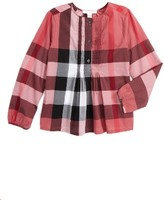 Burberry Girl's Brea Plaid Pintuck Top