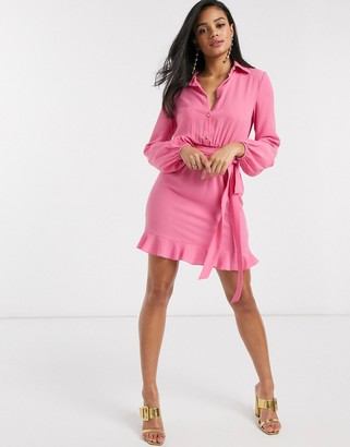 Outrageous Fortune shirt dress with frilly hem in pink