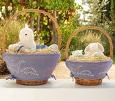 Pottery Barn Kids Chambray Embroidery Easter Basket Liner Dino