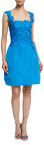 Monique Lhuillier Sleeveless Floral-Applique Dress, Azure