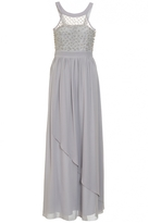 Quiz Grey Chiffon High Neck Beaded Maxi Dress