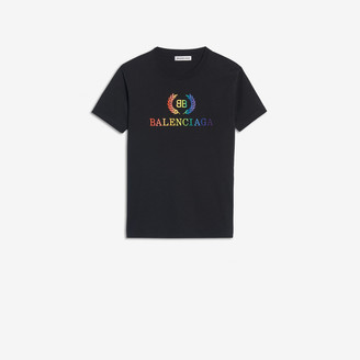 Balenciaga Rainbow BB Small Fit T-shirt in black embroidered jersey