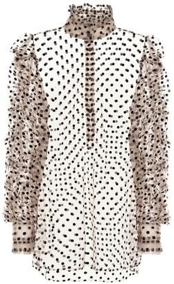 Dries Van Noten Flocked tulle blouse