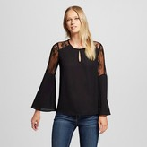 Women's Bell Sleeve Blouse with lace trim black - Éclair