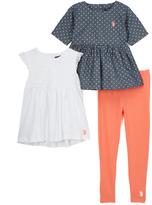 U.S. Polo Assn. White Tank & Pin Dot Dress Set - Toddler & Girls