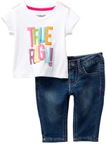 True Religion Glitter Tee & Jean 2-Piece Set (Baby Girls)