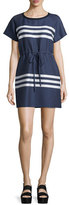 Jil Sander Navy Short-Sleeve Striped Dress, Blue/Cream