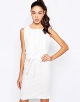 Daisy Street Midi Dress With Tie Waist And Overlay Top