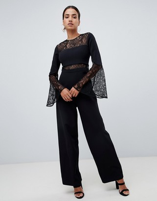 Forever New jumpsuit with lace details in black