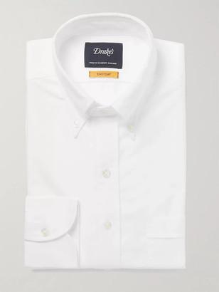 Drakes Blue Button-Down Collar Cotton Oxford Shirt - Men - White