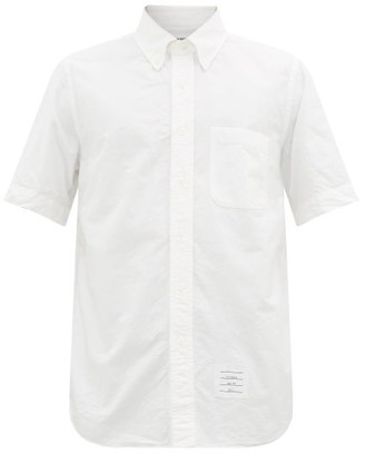 Thom Browne Short Sleeve Button-down Cotton Oxford Shirt - Mens - White