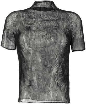 Issey Miyake sheer micro-pleated T-shirt