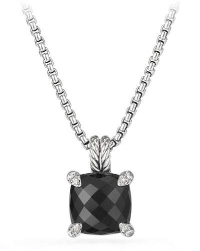 David Yurman 11mm Châtelaine Onyx Pendant Necklace with Diamonds