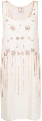 L'Autre Chose Floral-Embroidered Crepe Dress