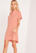 Missguided Short Sleeve Pocket Shirt Dress Nude