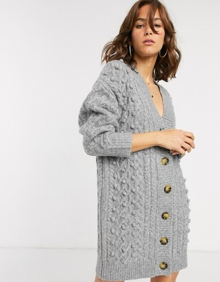 Asos Design DESIGN chunky cable mini cardigan dress