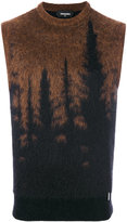 DSQUARED2 tree silhouette knitted vest