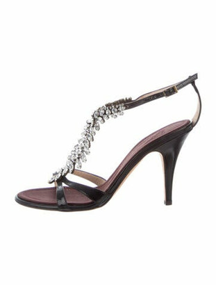 Giuseppe Zanotti Patent Leather Crystal Embellishments T-Strap Sandals Black