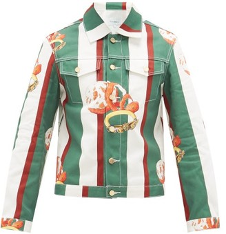 Casablanca - Orange-print Striped Cotton-denim Jacket - Mens - Dark Green