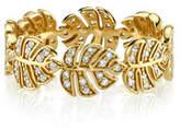 Sydney Evan 14k Diamond Monstera Leaf Eternity Ring, Size 6.5