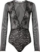 Faith Connexion Long-Sleeved Lace and Mesh Bodysuit
