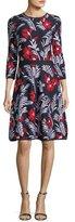 Carolina Herrera Floral Knit Elbow-Sleeve Dress, Multi Pattern