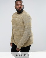 Asos Plus Relaxed Fit Jumper In Black & Yellow Twist
