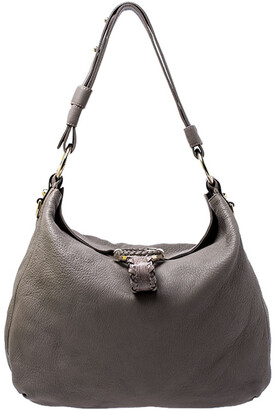 Gucci Grey Leather Medium G Wave Hobo